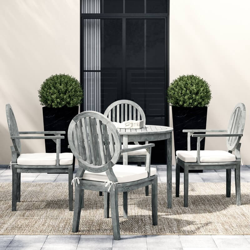 5-Piece Rustic Teak Patio Dining Set
