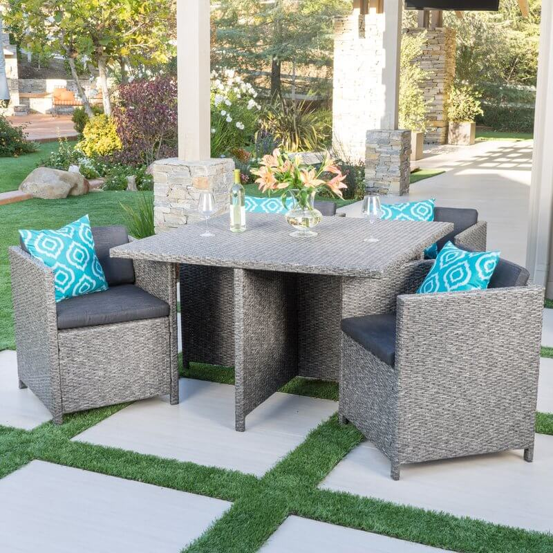 5-Piece Wicker Cushioned Dining Set
