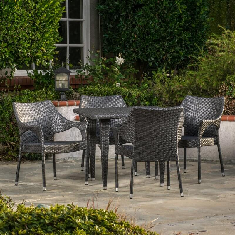 5-Piece Wicker Patio Dining Set