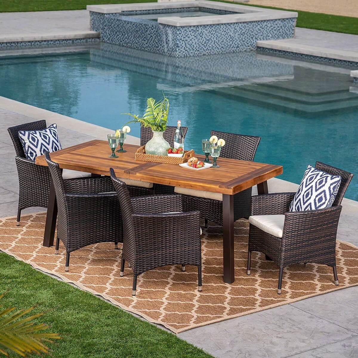 Acacia Wood and Wicker Patio Dining Set