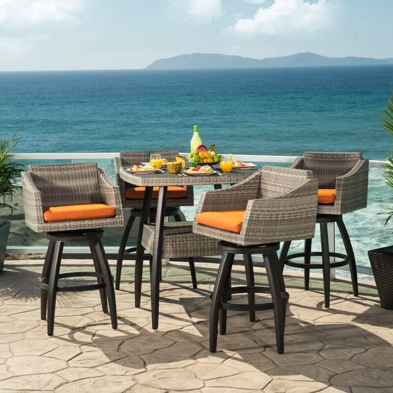 Bar Height Patio Dining Set With Rotating Chairs