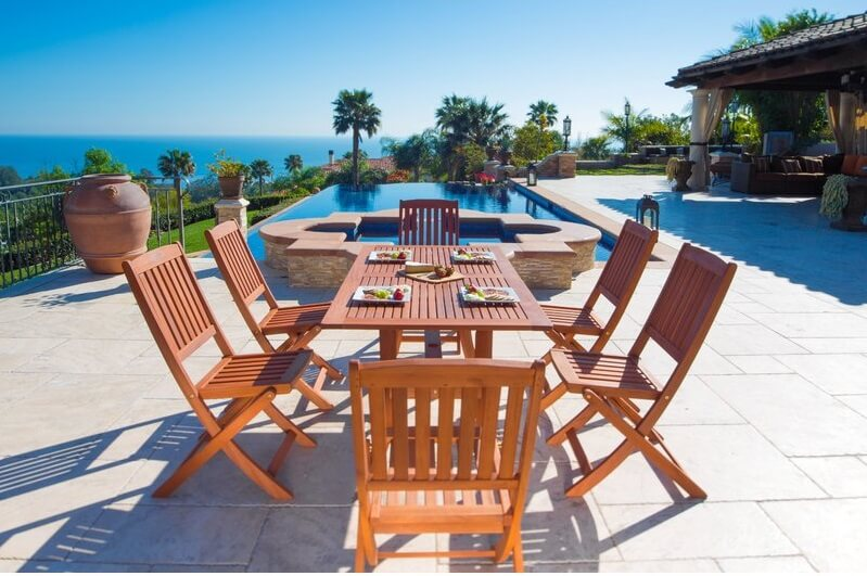Beachy Solid Wood Patio Dining Set