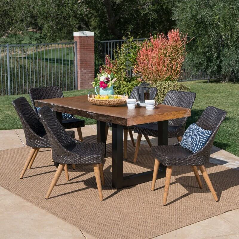 Concrete and Wicker Modern Patio Dining Set