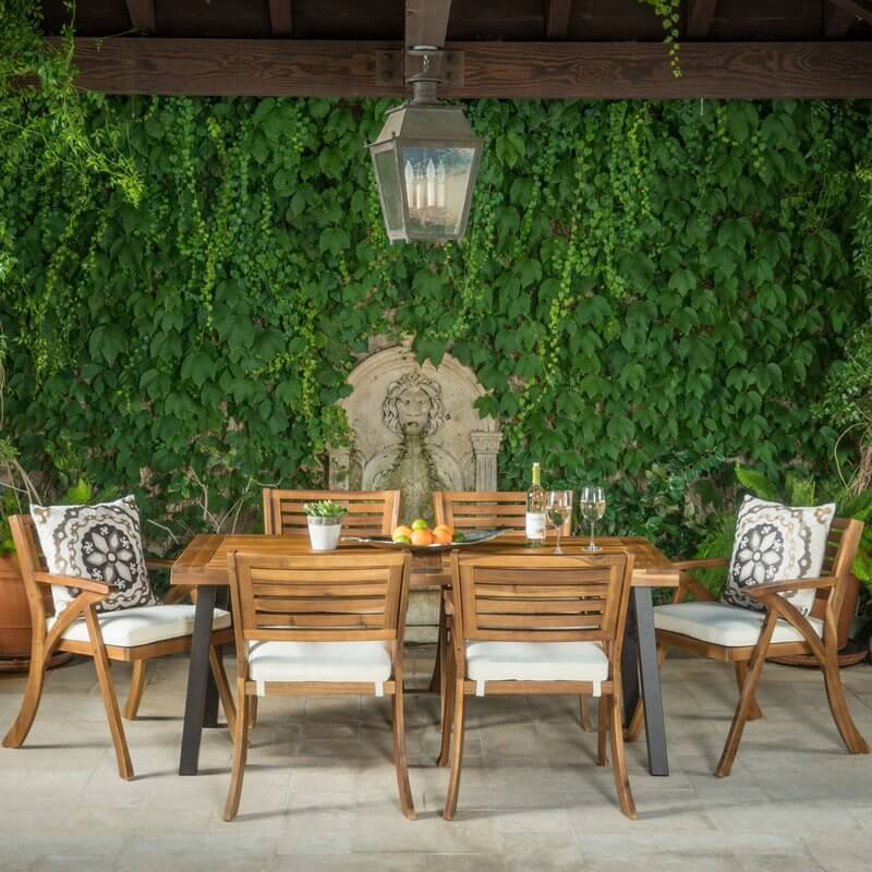 Low Back 7-Piece Solid Wood Patio Dining Set