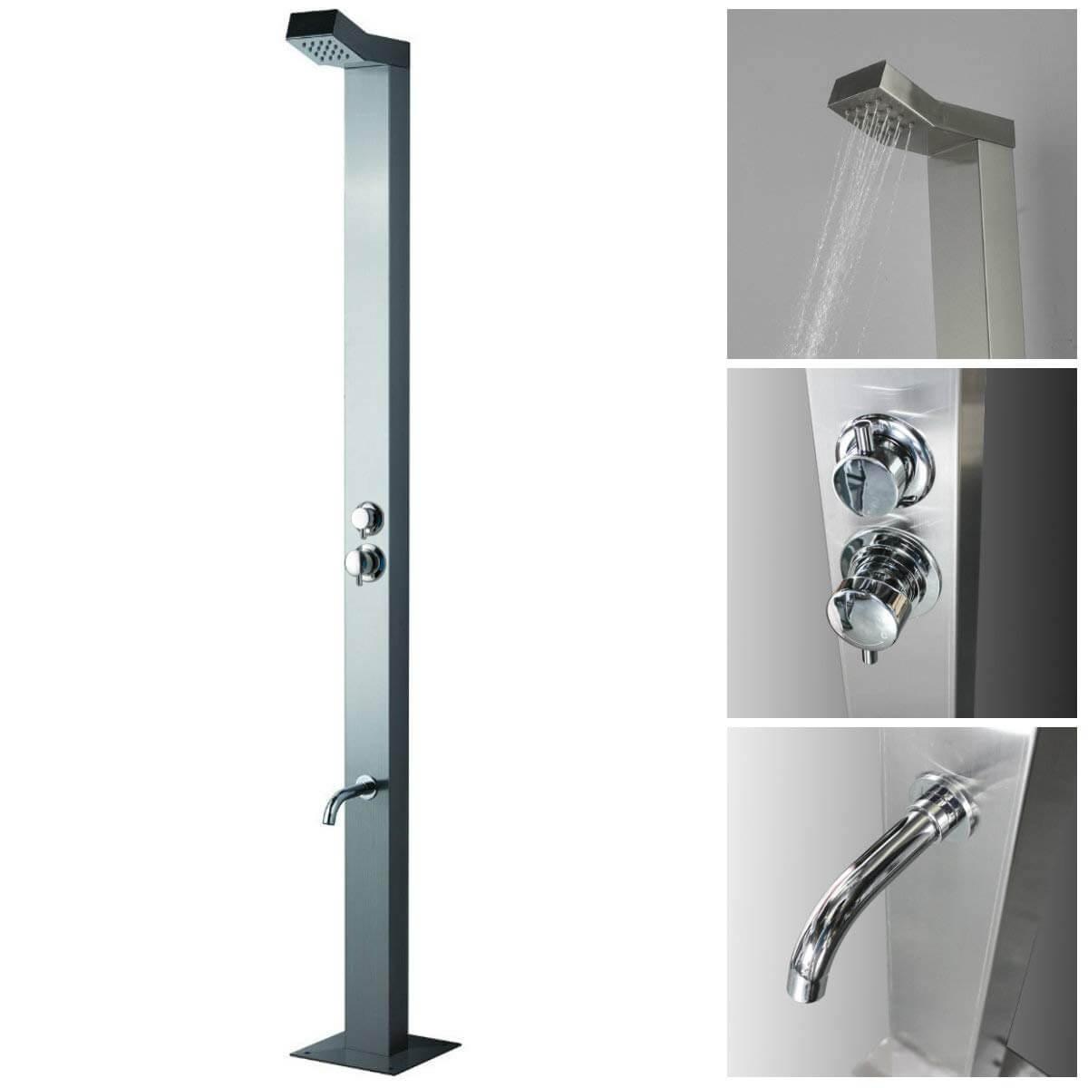 Minimalist Stainless Steel Outdoor Shower