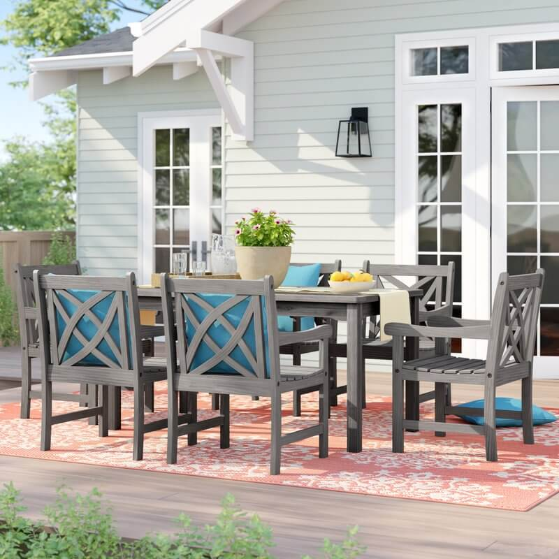 Patio Dining Set With Low Back Geometric Chairs