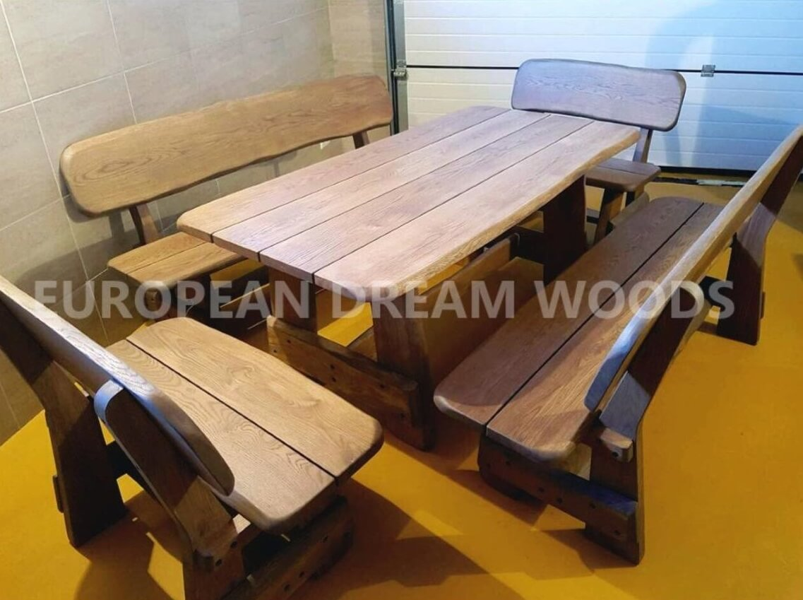 Rounded Rustic Oak Patio Dining Set