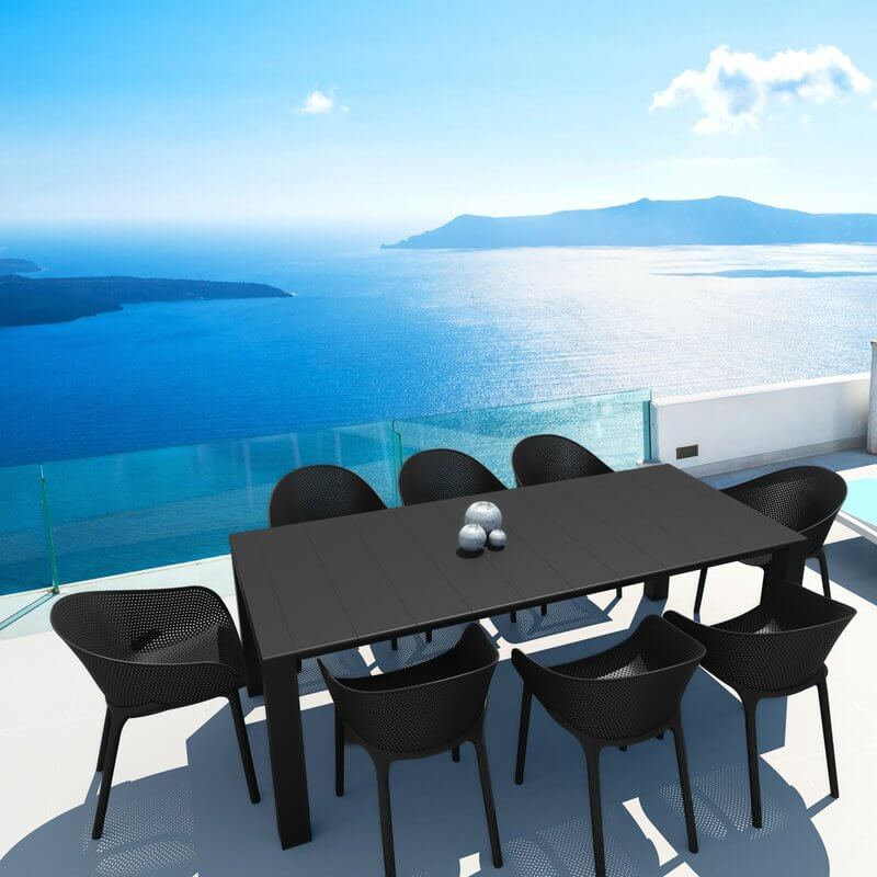 Sleek Black Patio Dining Set