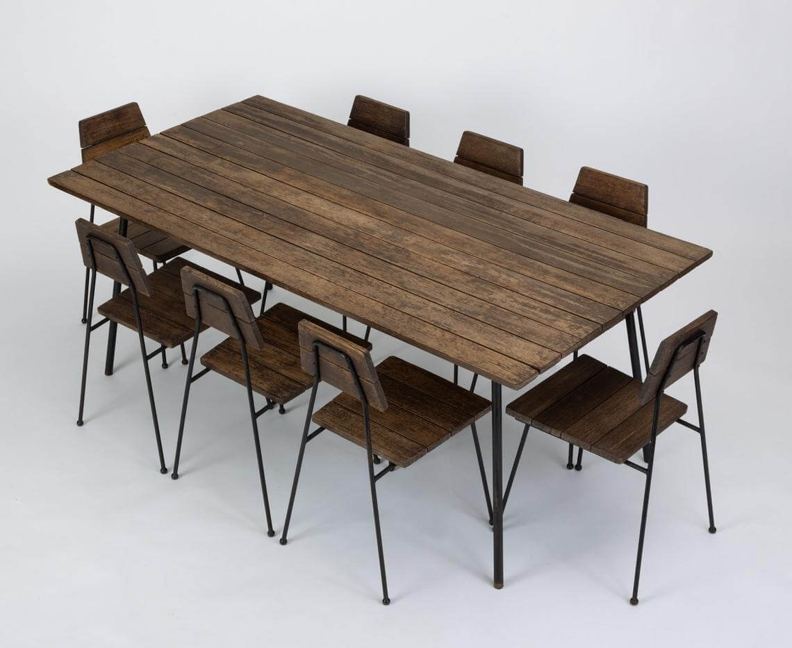 Weathered Mahogany Modern Patio Dining Set