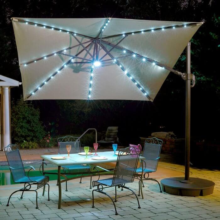 square patio umbrella with solar lights
