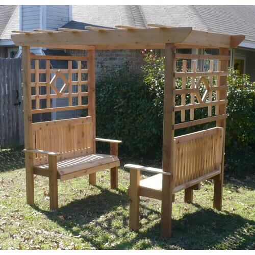 double garden arbor with benches