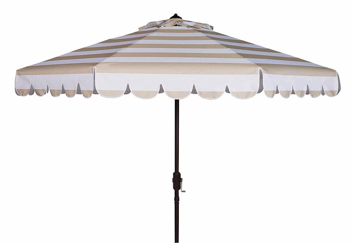 Beige Striped Patio Umbrella