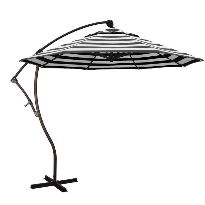 Black and White Striped Sunbrella Patio Umbrella