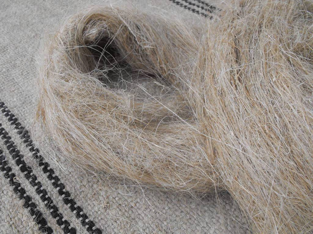 flax fiber and woven rug