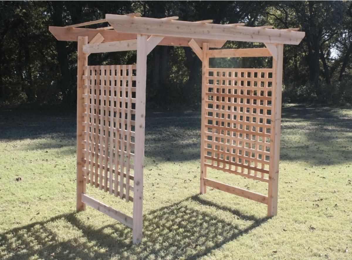 oversized lattice wood arbor