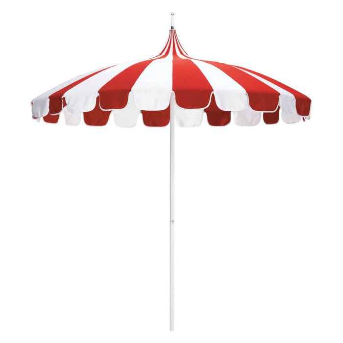 Pagoda Style Stiped Patio Umbrella