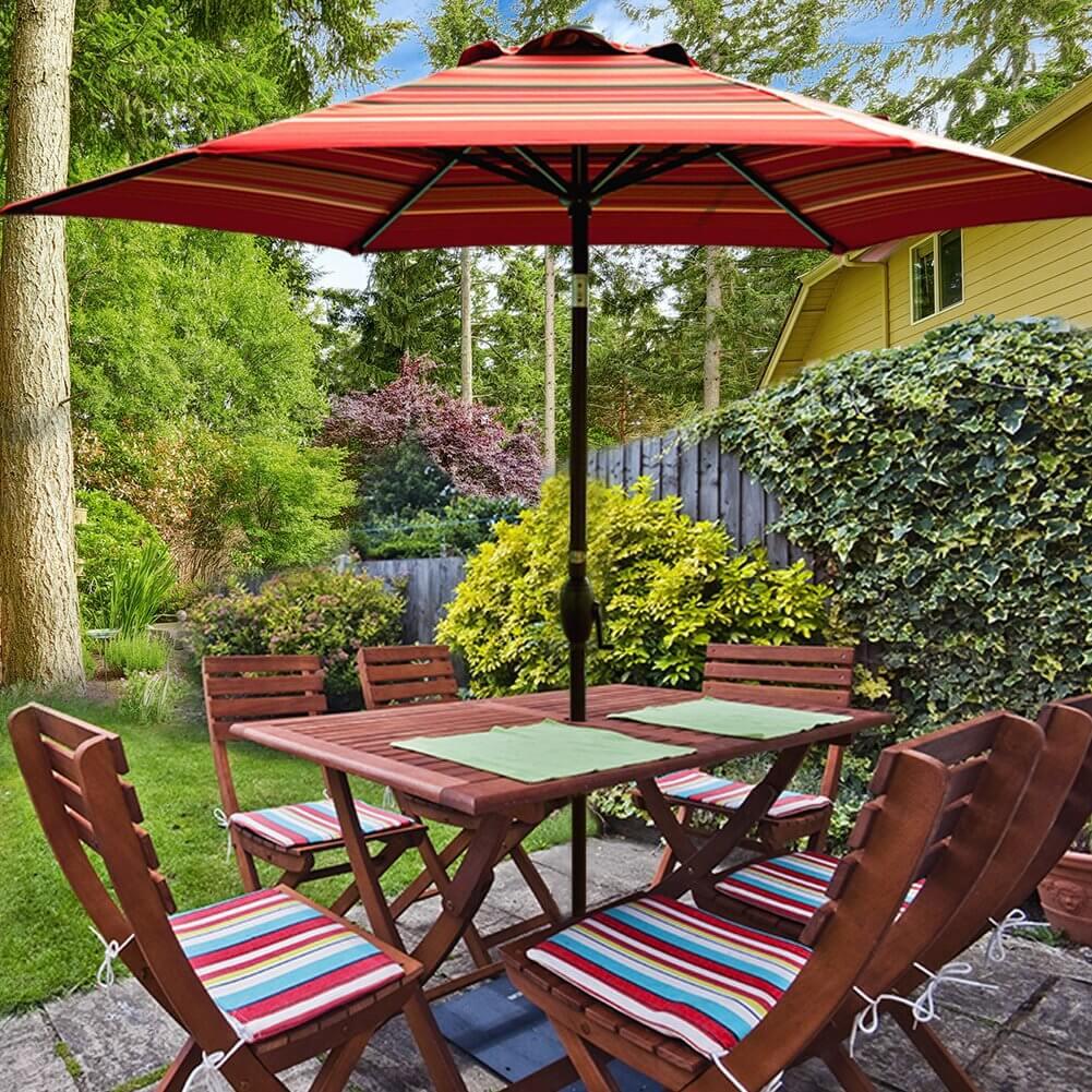 Red Striped Patio Umbrella