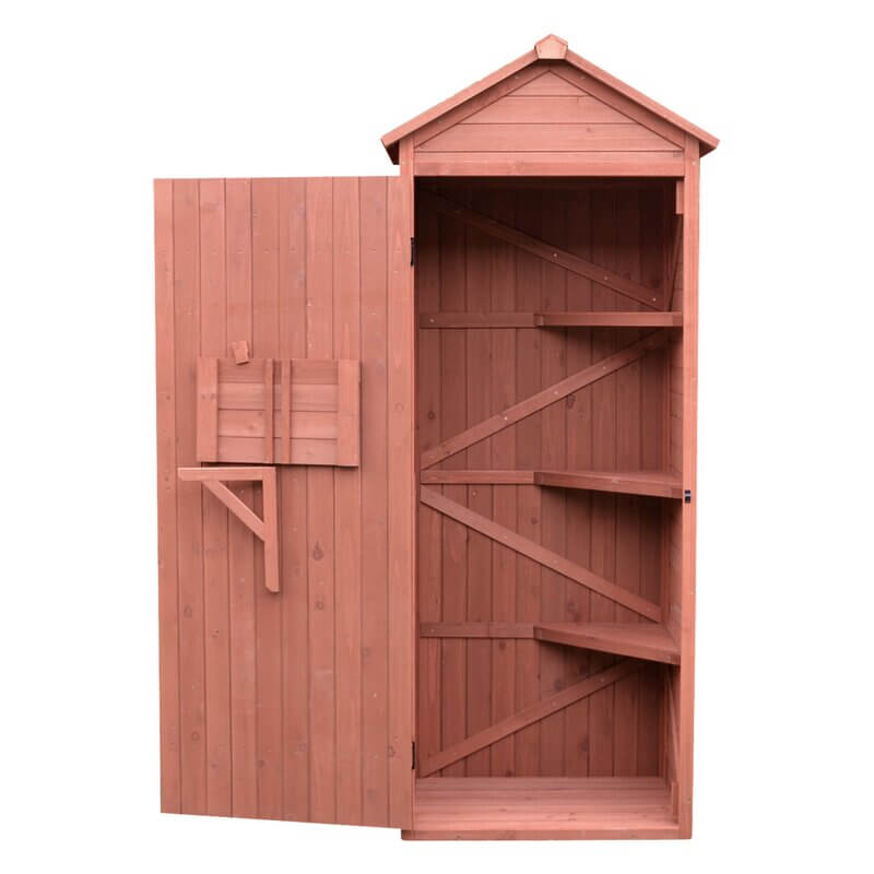Single Door Cypress Wood Storage Shed