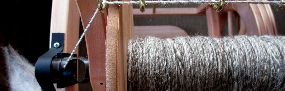 fibers on spinning wheel