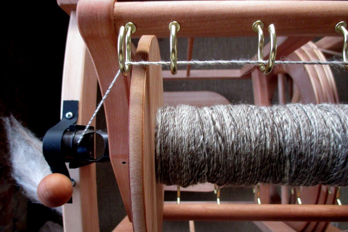 fibers on spinning wheel