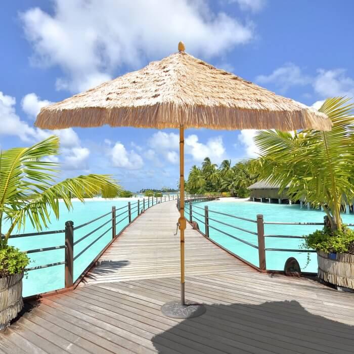 Tiki Style Bamboo Patio Umbrella