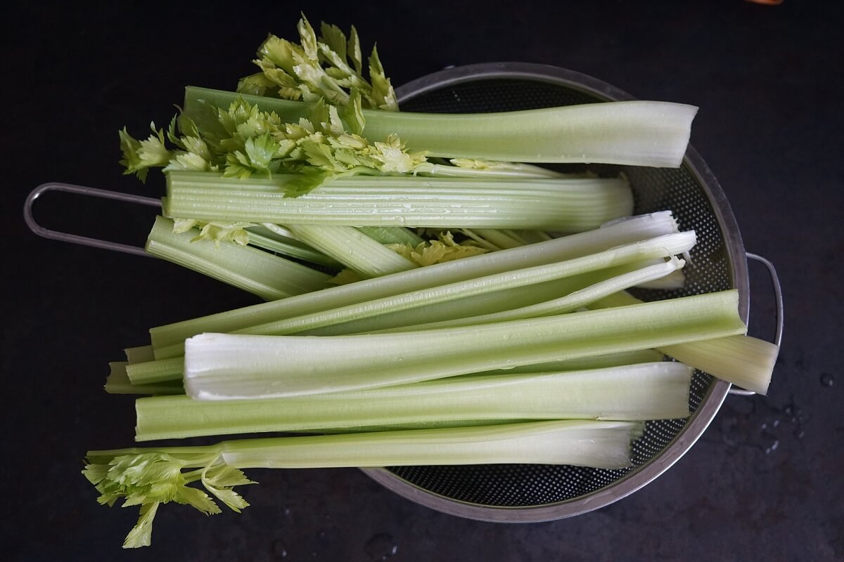 celery in strainer