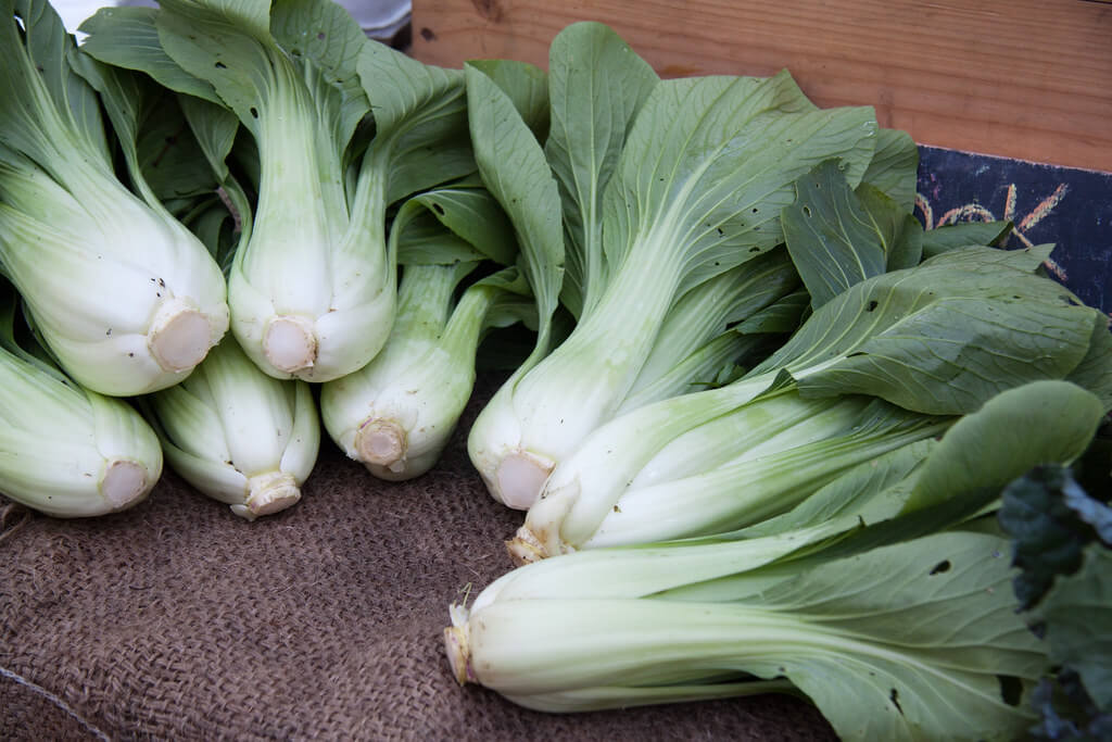 bok choy at a market stand