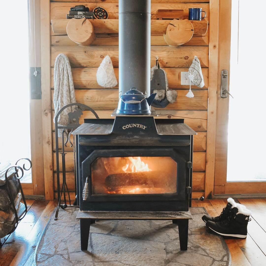 wood stove inside cabin