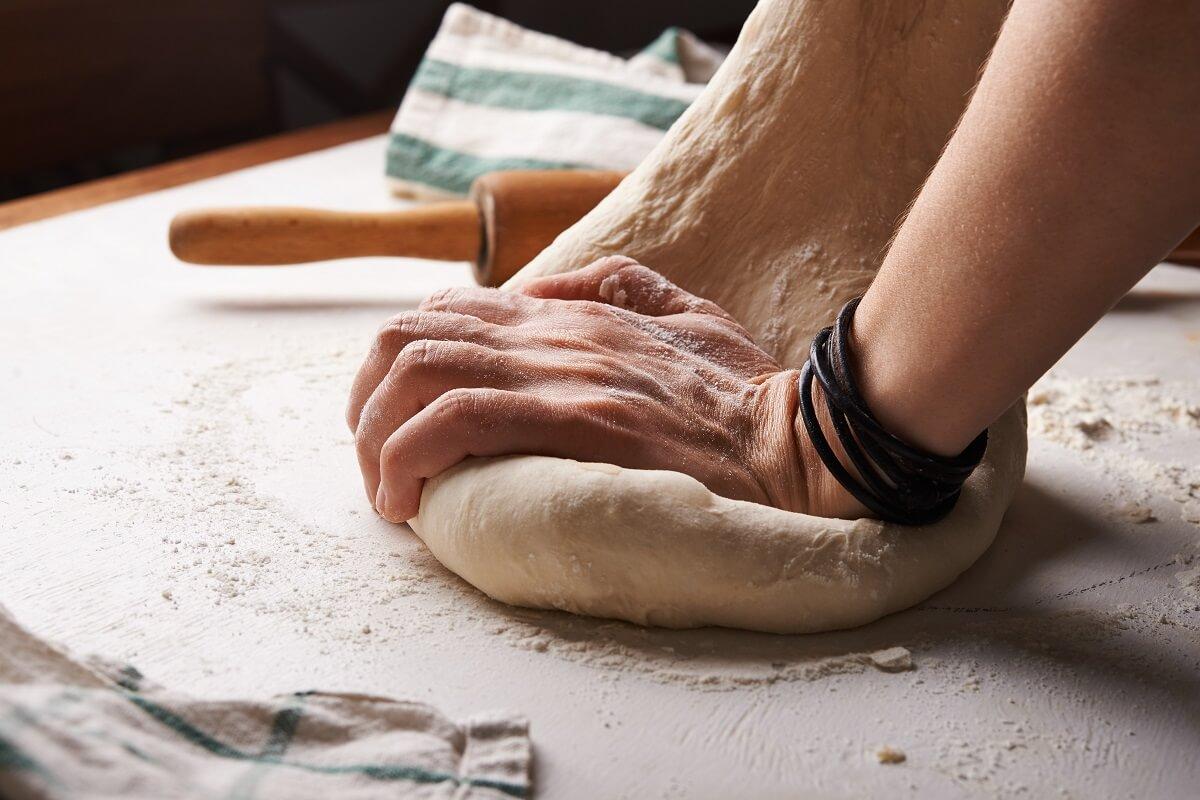 kneading dough for baking
