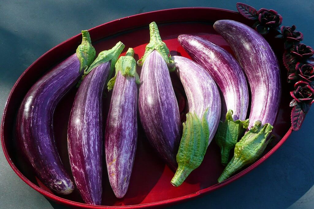 eggplants on purple dish