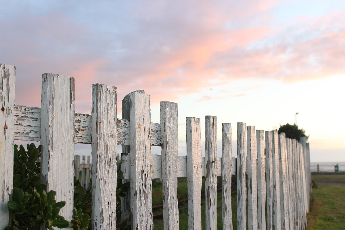 fence and sunset