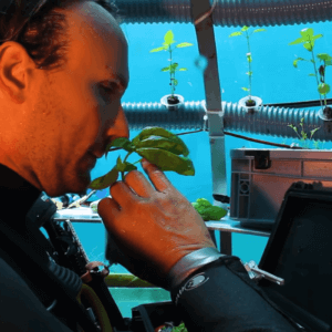 man collecting basil from underwater herb garden