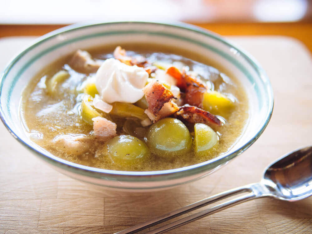 bacon chicken and green tomato soup