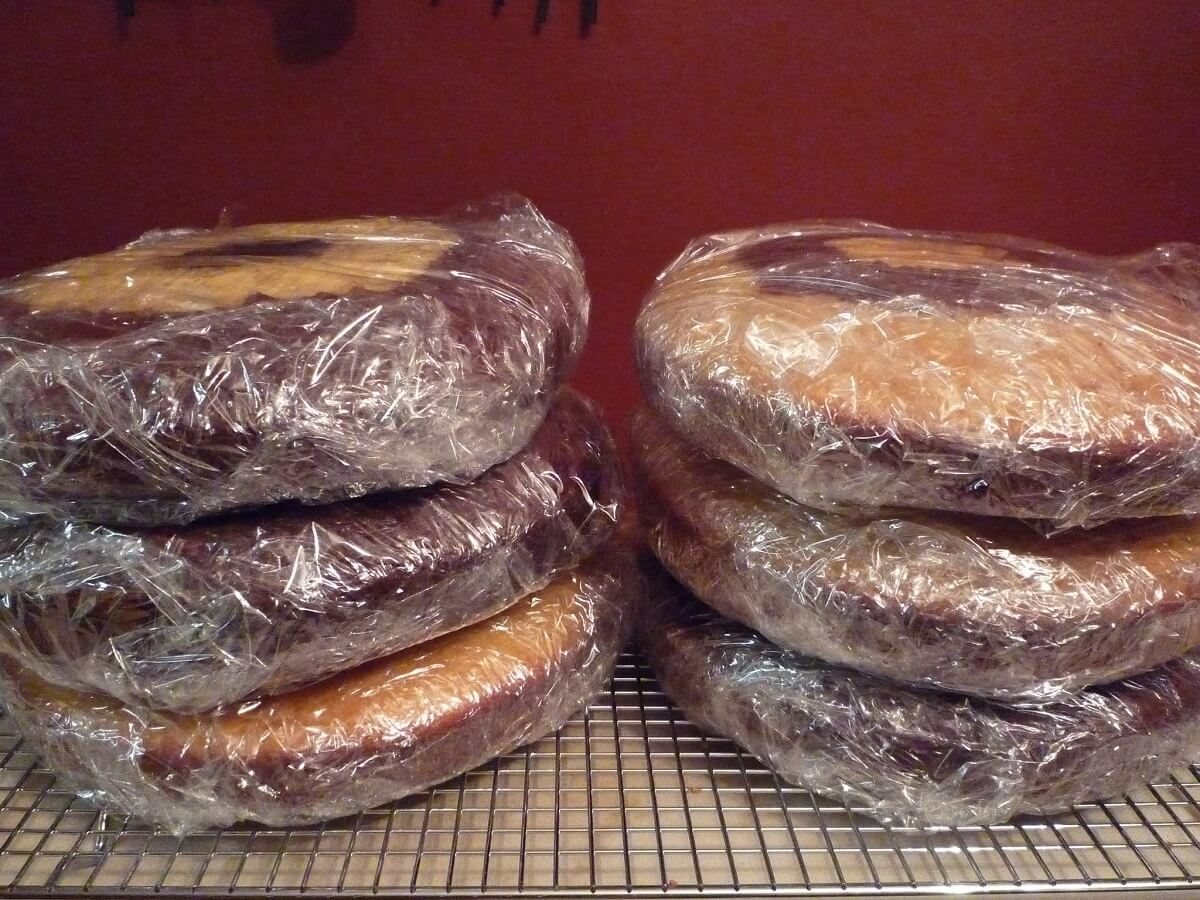 cake prepped for freezer