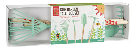 children gardening tall tools