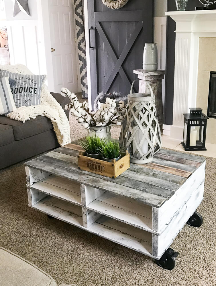 DIY coffee table with magazine storage