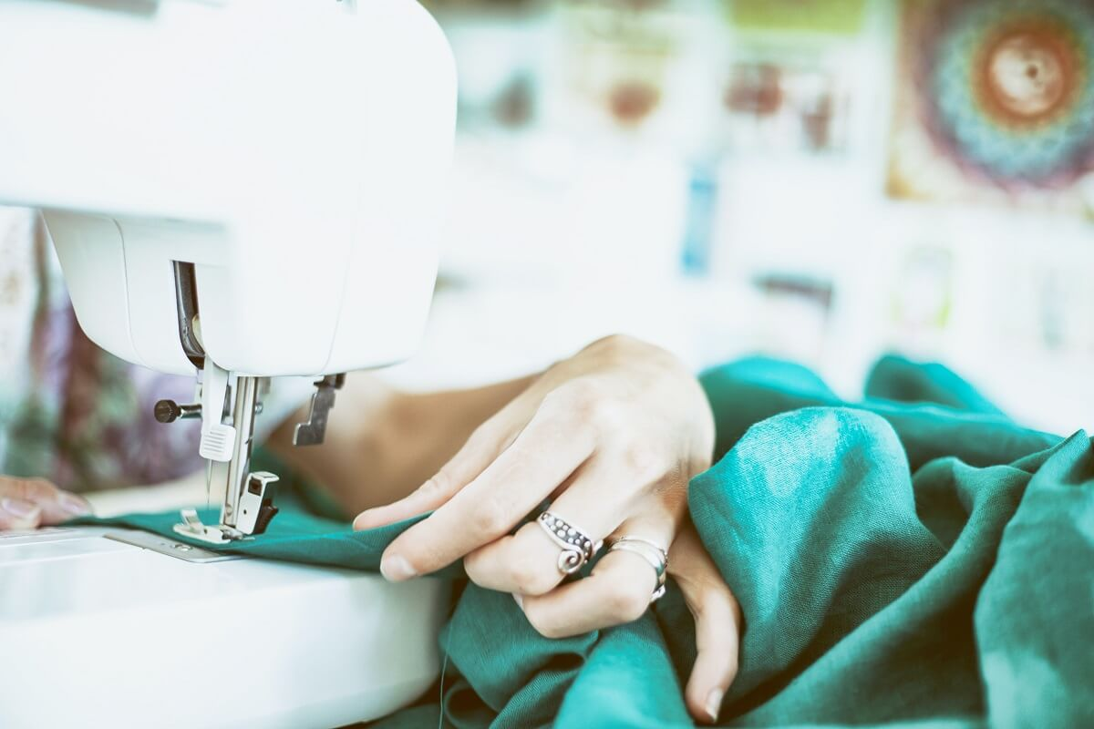 woman doing sewing projects