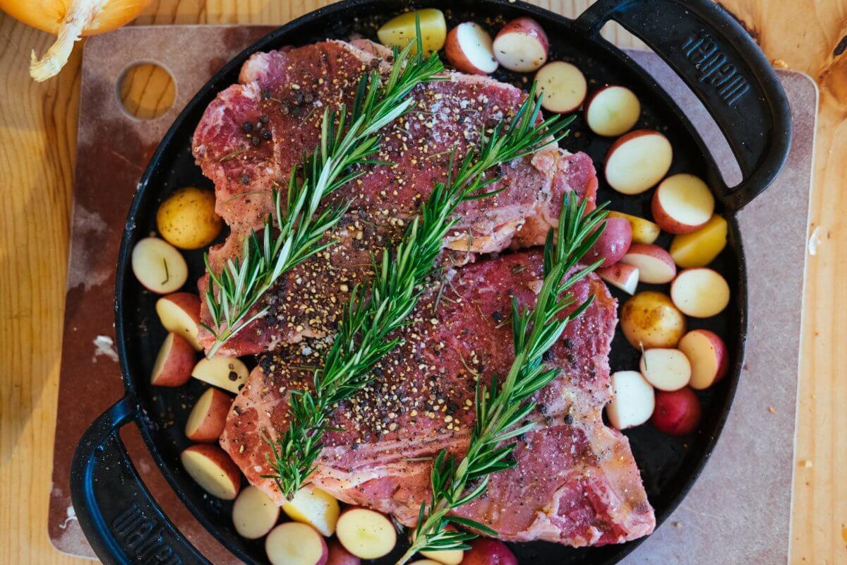 steak roast in cast iron