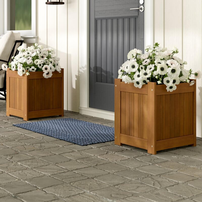 white flower box ideas for entry way