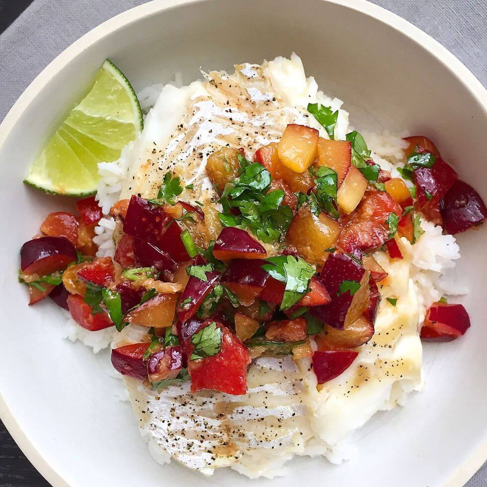 roasted cod with soy ginger plum salsa