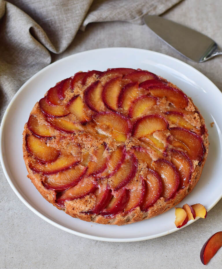 vegan upside down plum cake