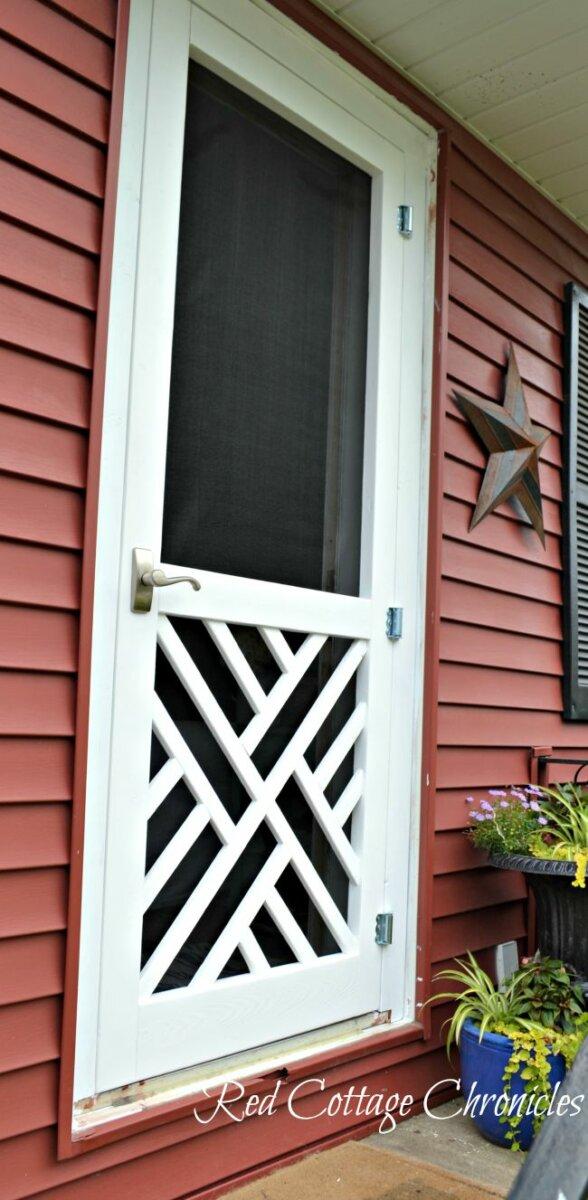 diy screen door ideas with geometric details