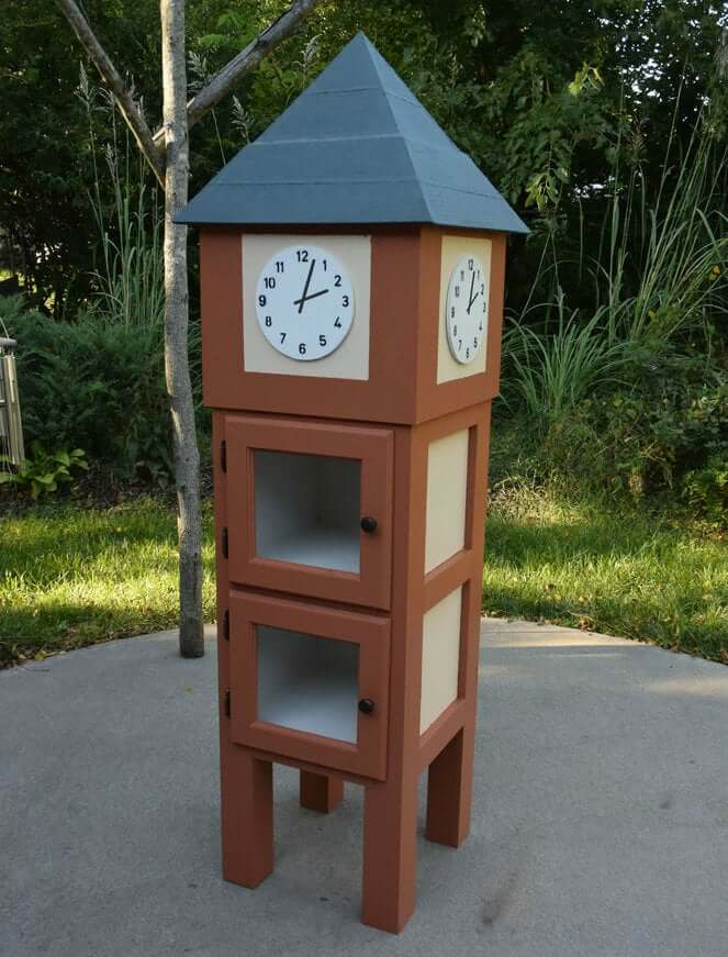clocktower style little free library plans