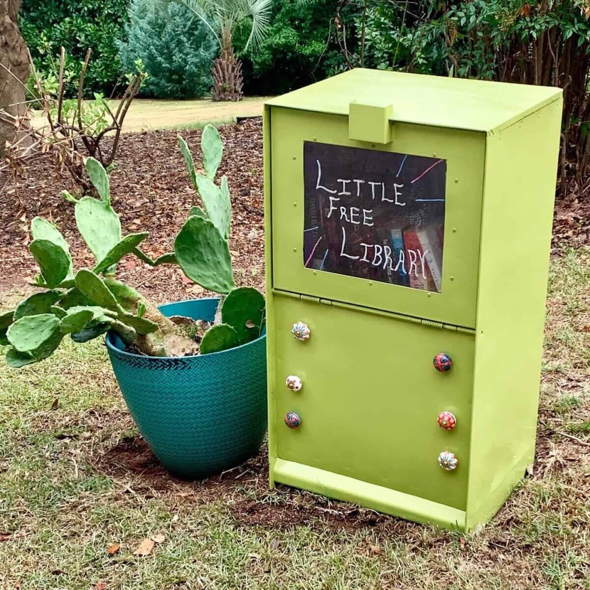 upcycled newspaper box little free library plans