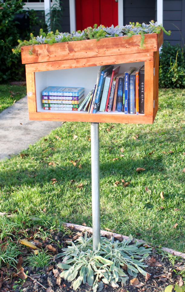 little free library plans with succulent roof