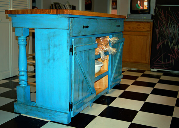 blue farmhouse kitchen island