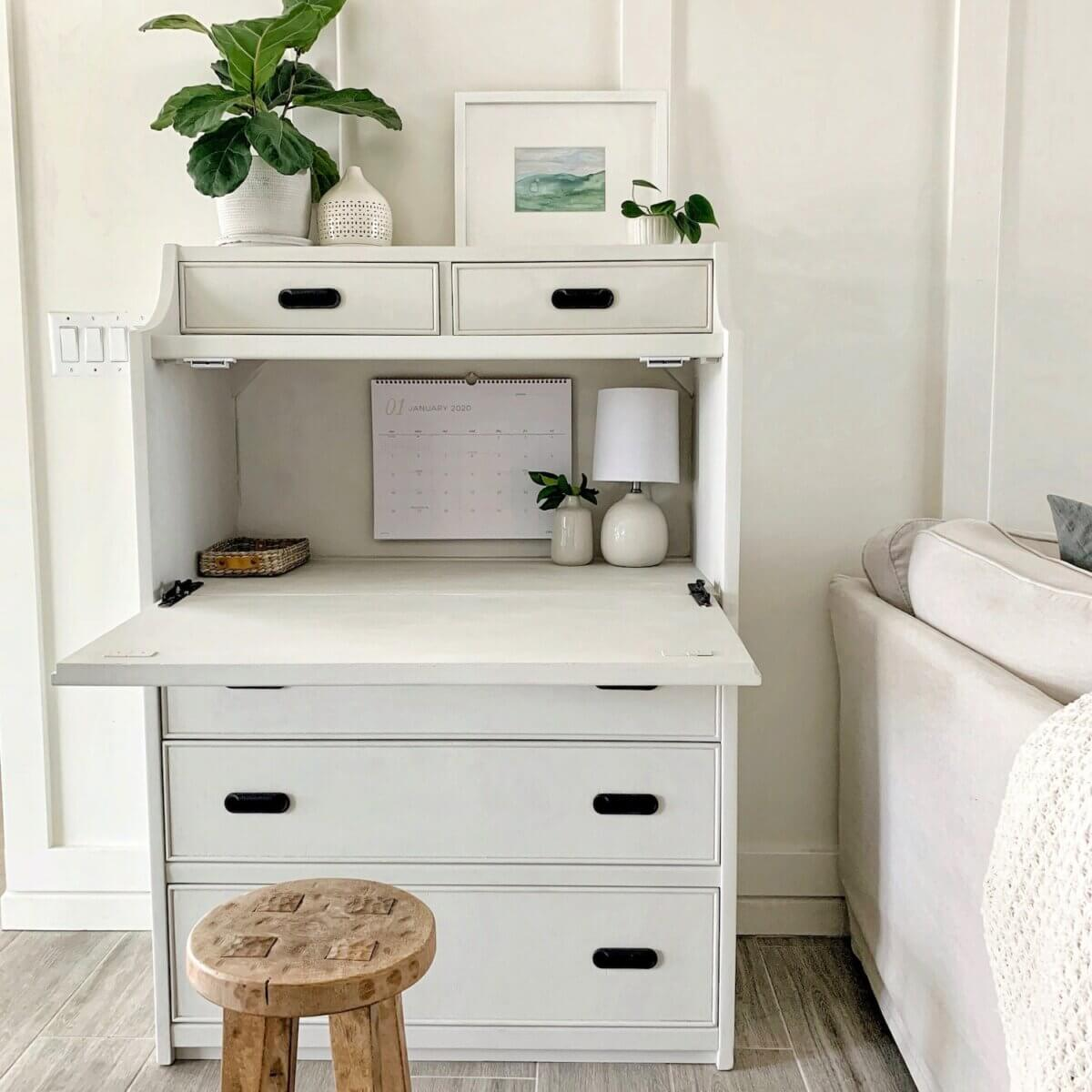 dresser turned secretary desk