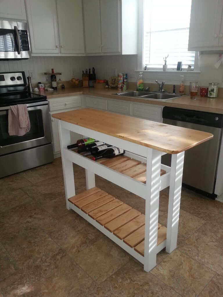 kitchen island with wine rack