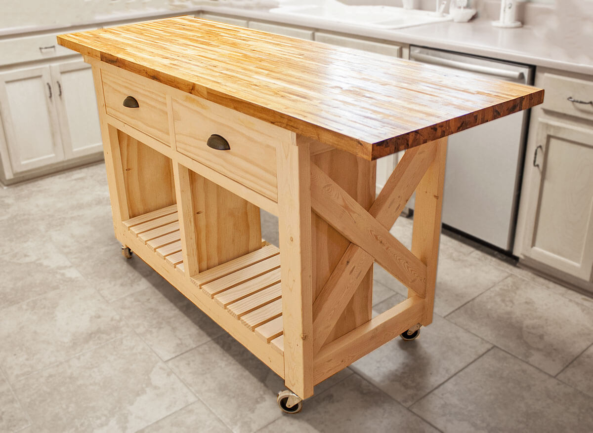 wide rustic DIY kitchen islands