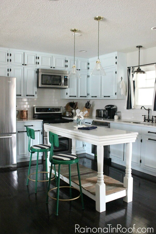 salvaged wood kitchen island
